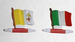 2 Drapeau Biscuits Alsacienne Italie Vatican Petit Exquis Plaque Métal - Plaques Publicitaires