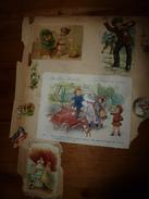 """Années 1889-1920 :6 Images  Diverses ,dont Chromos (hippisme,etc) Et 1 Image  """"AU BON MARCHE """"(promenade En Automobile) - Vieux Papiers"""
