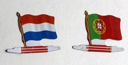 2 Drapeau Biscuits Alsacienne Portugal Luxembourg Petit Exquis Plaque Métal - Autres