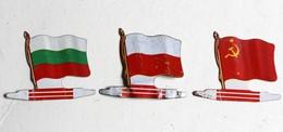 3 Drapeau Biscuits Alsacienne Bulgarie Pologne URSS Petit Exquis Plaque Métal - Plaques Publicitaires