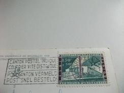 STORIA POSTALE FRANCOBOLLO COMMEMORATIVO BELGIO BELGIQUE  LE PAVILLON DU BENELUX ESPOSIZIONE BRUXELLES 1958 - Esposizioni