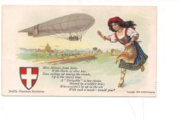 M4477 DIRIGIBILE MILANO COSTUMI 1910 PREMIUM BUTTERINE SWIFT NON Viaggiata - Dirigibili