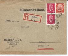 EMPIRE ALLEMAND - 3 TIMBRES SUR ENVELOPPE RECOMMANDEE CAD KREFELD DU 01/07/1933 HEEDER & Co - Briefe U. Dokumente