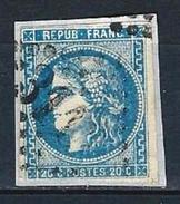 """YT 46B """" Cérès 20c. Bleu Pâle """" GC 3116 RENNES - 1870 Bordeaux Printing"""
