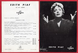 -- EDITH PIAF - Reproduction D'époque Sur Papier - DISQUES COLUMBIA - - Reproductions