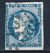 "YT 45C "" Cérès 20c. Bleu "" GC 434 BELLEY - 1870 Bordeaux Printing"