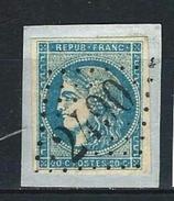 """YT 45C """" Cérès 20c. Bleu Clair """" GC 2490 MONTMELIAN - 1870 Bordeaux Printing"""
