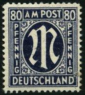 AMERIK. U. BRITISCHE ZONE 34aD *, 1945, 80 Pf. Schwarzviolettultramarin, Gezähnt L 111/2, Mit Starkem Rückseititgen Abkl - Bizone