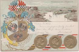 Litho Gold Präge AK Dreikaiserreichsecke Myslowitz Myslowice Bei Jaworzno Szczakowa Granice Sosnowitz Kattowitz Beuthen - Schlesien