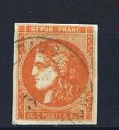 """YT 48a """" Cérès 40c. Orange Vif """" Cachet à Date De Couleur Verte - 1870 Bordeaux Printing"""