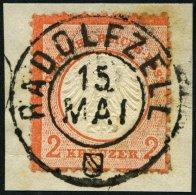Dt. Reich 8 BrfStk, 1872, 2 Kr. Rötlichorange, Rauhe Zähnung, Idealer Badischer K2 RADOLFZELL, Prachtbriefstück, Gepr. H - Deutschland
