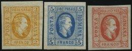 RUMÄNIEN 11a-13x *, 1865, Fürst Cuza, Einfaches Papier, Falzrest, 3 Prachtwerte, Mi. 205.- - Rumänien