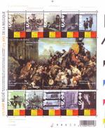 Belgien**175 Jahre Unabhaengigkeit-Bogen 10 Mkn-1er Zug-Kongo-Kunst-Krieg 1940-45-EUROPA-2005-Unterricht. - Ongebruikt