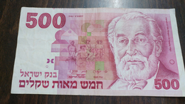 Israel-sheqel-six Issue-(1982-1986)-(500sheqel Hbaron Rothschild-number Note 0465390936)-very Good - Israel
