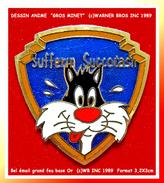 "SUPER PIN´S CINEMA-DESSINS ANIMES : ""GROS MINET"" Dans LOGO Warner Bros (c)WB INC 1989, RARE Version Format 3,2X3cm - Cinéma"