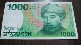 Israel-sheqel-six Issue-(1982-1986)-(1000 Sheqelim Hrab Moshe Maimondies-number Note 3247055973)-very Good - Israel
