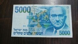 Israel-sheqel-six Issue-(1982-1986)-(5000 Sheqelim Levi Eshkol-number Note 6050455965)-very Good - Israel