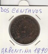 DOS CENTAVOS 1890 - MONETA ARGENTINA - LEGGI - Amérique Centrale