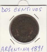DOS CENTAVOS 1891 - MONETA ARGENTINA - LEGGI - Central America