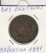 DOS CENTAVOS 1891 - MONETA ARGENTINA - LEGGI - Amérique Centrale