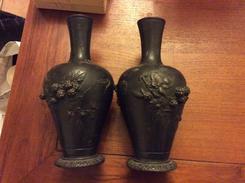 Paire De Vase 19eme En Bronze - Art Asiatique