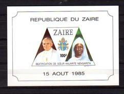 1986  Béatification De Sœur Anuarite Nengapeta, 20 X  BF 65, Cote 100 €, - République Démocratique Du Congo (1997 -...)