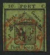 GENF 1HL O, 1843, 5 C. Schwarz Auf Lebhaftgrünoliv, Linke Hälfte Der Doppelgenf, Stärkere Mängel (diverse Einrisse), Fei - 1843-1852 Kantonalmarken Und Bundesmarken