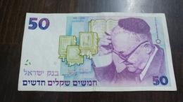 Israel-new Sheqel-seventh Issue-(1986-1995)-(50new Sheqalim Shai Agnon-number-2076492222)-very Good - Israel