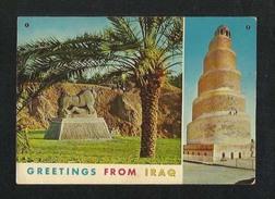 IRAQ Picture Postcard 2 Scene Lion Babylon Hillah & Spiral Malweyah Tower View Card - Oman
