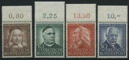 BUNDESREPUBLIK 173-76 **, 1953, Helfer Der Menschheit, Oberrandstücke, Prachtsatz - BRD