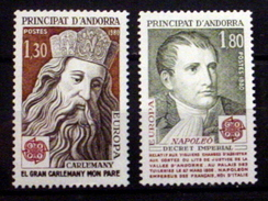 ANDORRA (FRENCH) #279-280. Europa, Charlemagne - Napoleon.  MNH (**) - French Andorra