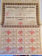 BANQUE  FRANÇAISE  De  L' ÉPARGNE   FONCIÈRE  ----------Action  De  100 Frs - Banca & Assicurazione