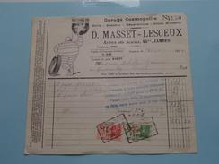 D. MASSET - LESCEUX Jambes Garage 1934 ( Factuur + Tax ) >Gravier Frasnes ! - Cars