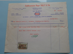 "Ets. Roger GILLY & Fils MATAGNE-la-Grande "" ESSO "" 1961 ( Factuur + Tax ) > Frasnes ! - Automobile"