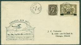 CANADA 1934-1er VOL Fond Du Lac / Fort Chipwyan .arr. Au Verso.ct Traineau à Chiens & Hydravion TB. - Primeros Vuelos