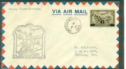 CANADA 1935-1er VOL NORWAY HOUSE / WINNIPEG .arr Verso Ct Avion + 2 Skieurs Tb - Primeros Vuelos