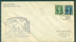CANADA 1939 -1er VOL WINNIPEG / NORTHBAY.arr Verso.ct Avion.indiens.soldats Tb - Primeros Vuelos