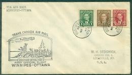 CANADA 1939 1er VOL WINNIPEG / OTTAWA Arr Au Verso Ct Indiens .soldats.avion Tb - Primeros Vuelos