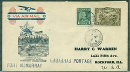 CANADA 1931 1er VOL FORT Mc MURRAY / EMBARRAS PORTAGE.arr Verso Ct CANOE + 2 TRAPPEURS TB - Primeros Vuelos