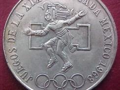 MEXIQUE , 25 PESOS ARGENT ,  JUEGOS DE LA XIX OLIMPIADA MEXICO 1968 , JEUX OLYMPIQUES, OLYMPIC GAMES , Silver Coin - Mexico