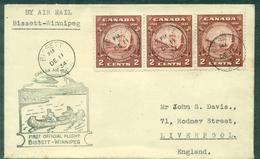 CANADA 1934 1er VOL BISSET / WINNIPEG.arr Au Verso.cachet Avion,canoé,2 Trappeurs.tb. - Primeros Vuelos