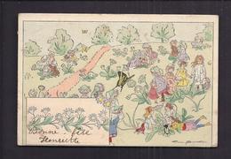 CPA Illustrée Par Firmin Bouisset - Enfants Fleurs Et Insectes Surréalisme - Illustrateurs & Photographes