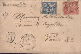 Enveloppe Recommandée Mouchon (125 Et 127) Cachet Manuel Loango A Bordeaux *L.L.N° 1 4 Sept 03 - 1877-1920: Période Semi Moderne