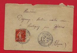 Facteur Boitier - Perigneux (Loire) Sur Type Semeuse 1912 - Marcophilie (Lettres)
