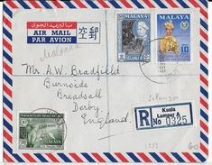 SELANGOR - 1959 - ENVELOPPE PAR AVION RECOMMANDEE De KUALA LUMPUR => BREADSALL DERBY (GB) - Selangor