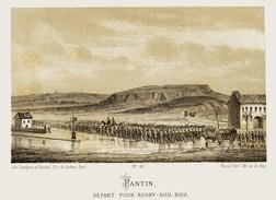Litho  PANTIN Départ Pour ROSNY/BOIS  SIEGE De PARIS  1871 - Col.Garde Nationale Mobile De La Seine 7éme Bat.- Militaria - Altri
