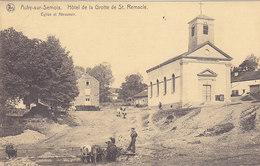 Auby Sur Semois - Hôtel De La Grotte De St Remacle - Eglise Et Abreuboir (animée, Vaches, 1921) - Herbeumont