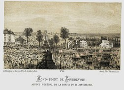 Litho   ROND POINT DE COURBEVOIE    - SIEGE De PARIS  1871 - Col.Garde Nationale Mobile De La Seine 7éme Bat.- Militaria - Other