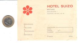 ETIQUETA DE HOTEL  -HOTEL SUIZO  -MATARO - Hotelaufkleber