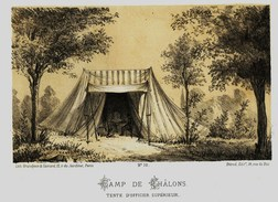 Litho CAMP DE CHALONS TENTE D'OFFICIER  GUERRE De 1870 1871 - Col.Garde Nationale Mobile De La Seine 7éme Bat. Militaria - Sonstige